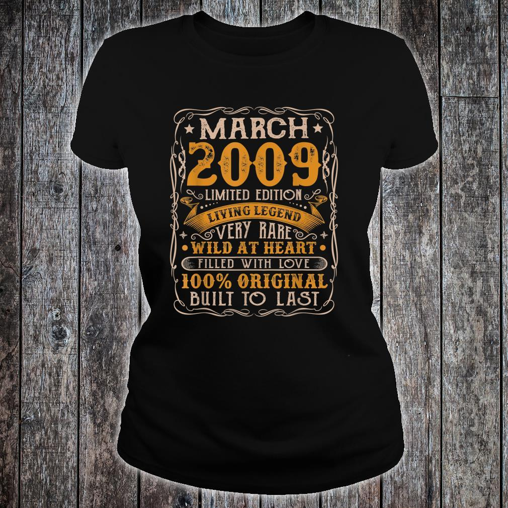 12 Years Old Born In March 2009 Vintage 12th Birthday Retro Shirt ladies tee