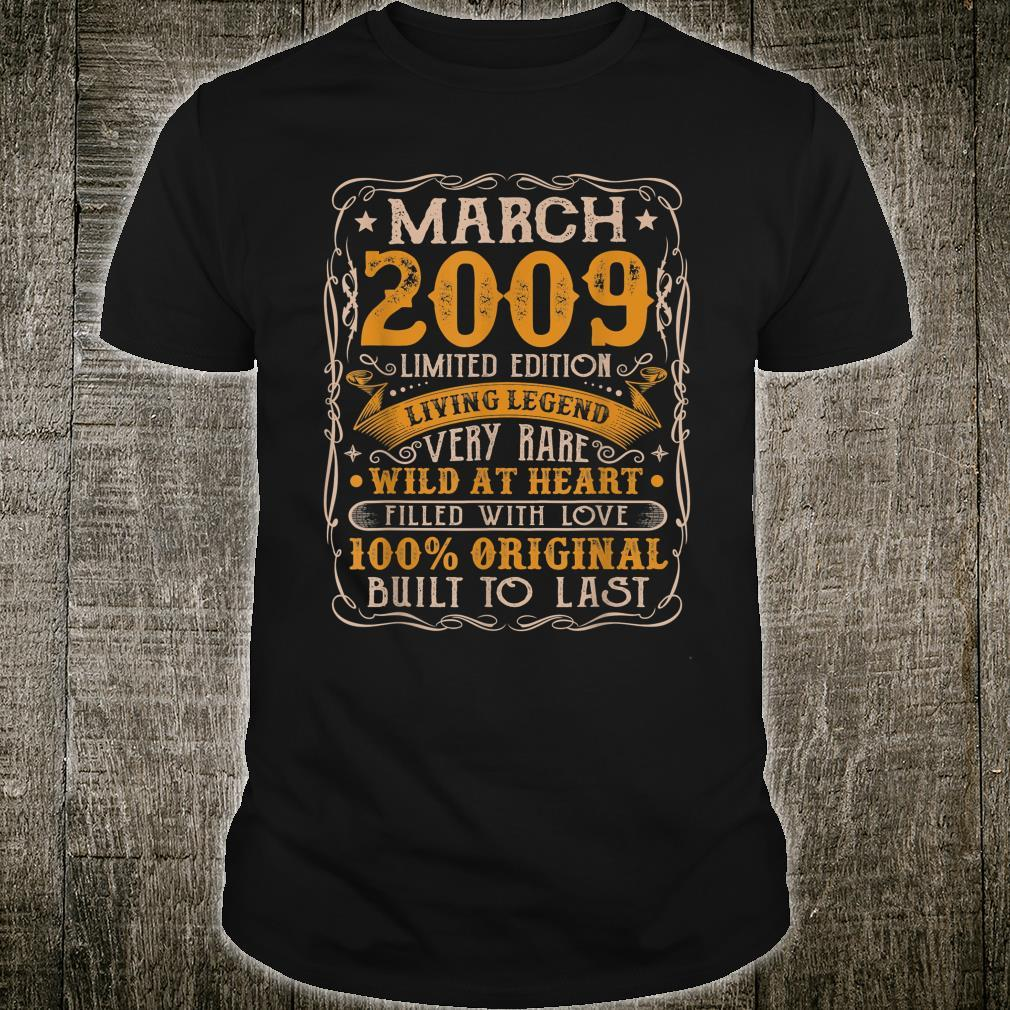 12 Years Old Born In March 2009 Vintage 12th Birthday Retro Shirt