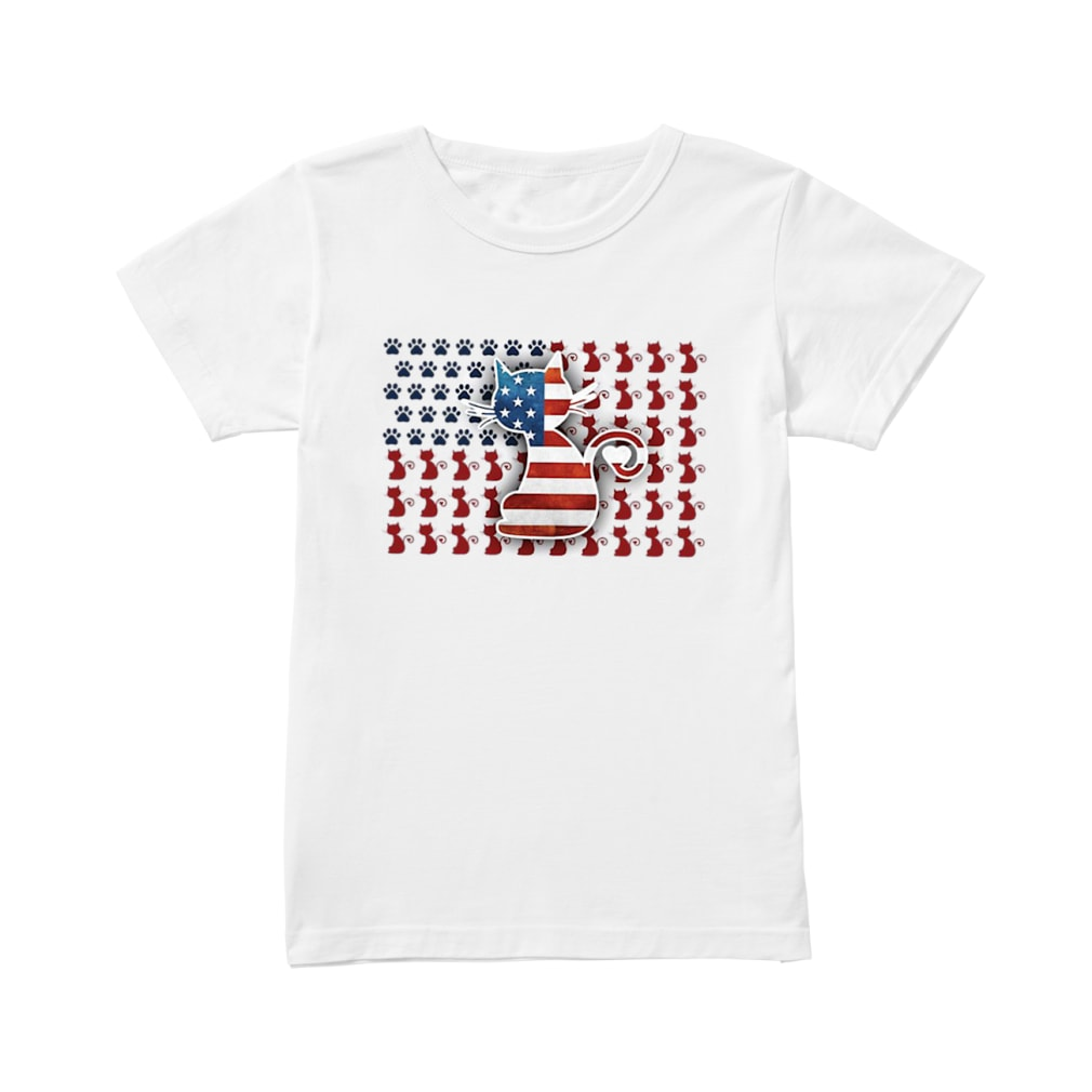Cat American flag shirt ladies tee