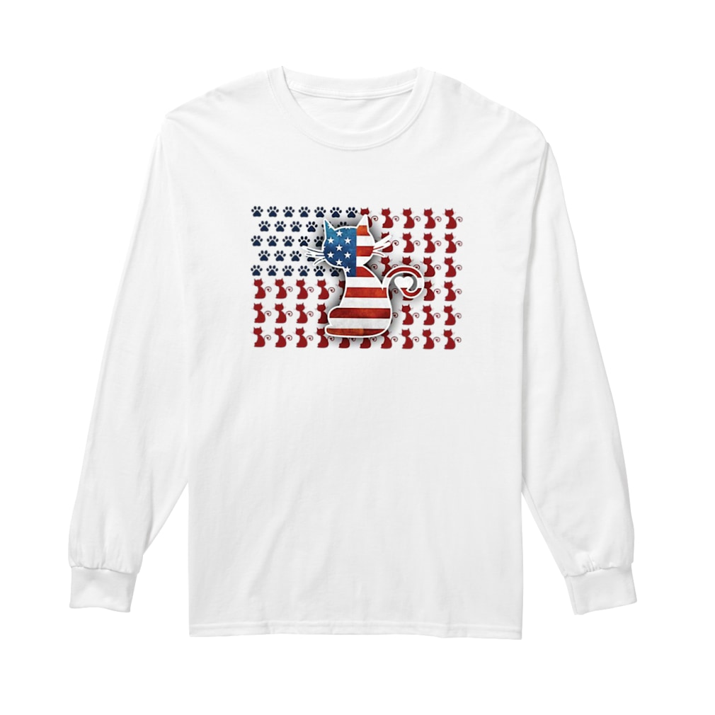 Cat American flag shirt Long sleeved