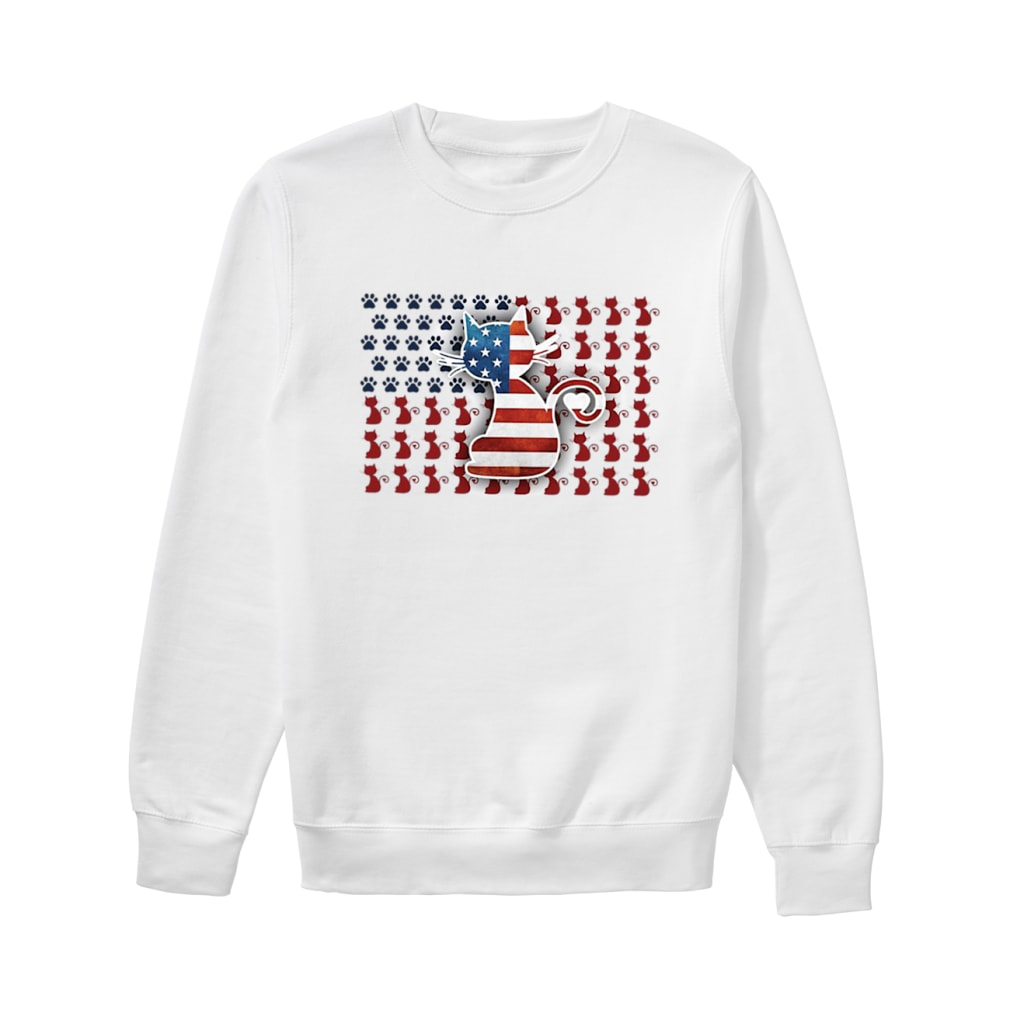 Cat American flag shirt sweater