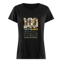 100 years of 1919-2019 g packers thank you for the memories shirt ladies tee
