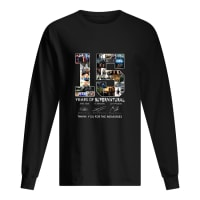 15 years of supernatural thank you for the memories shirt long sleeved