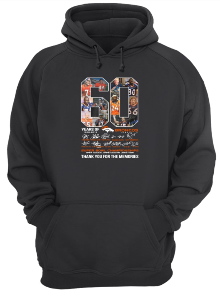 60 years of Broncos super bowl championship thank you for the memories shirt hoodie