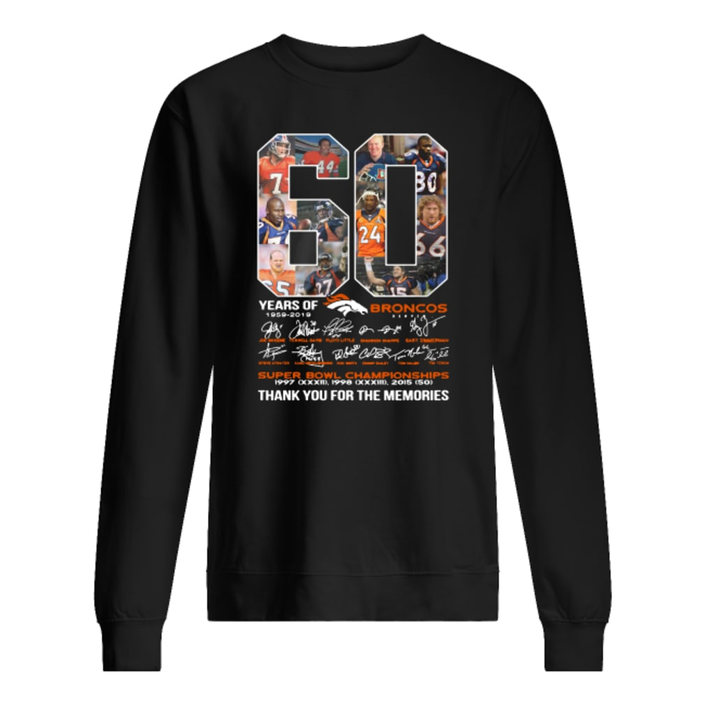 60 years of Broncos super bowl championship thank you for the memories shirt sweater