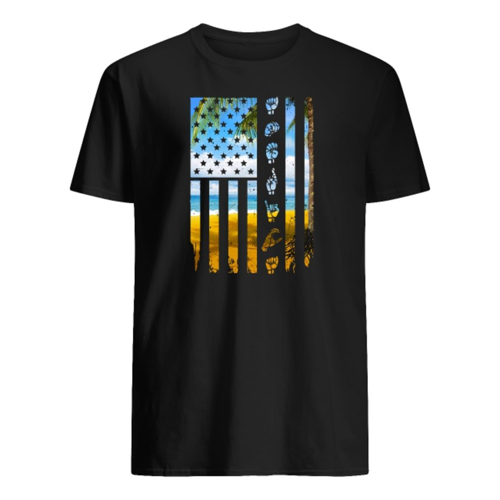 Landscape and hands American flag shirt