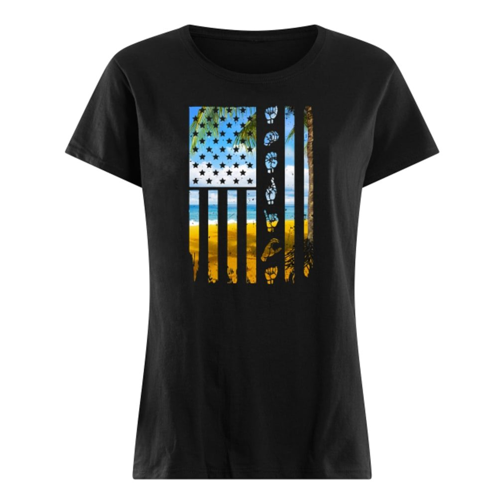 Landscape and hands American flag shirt ladies tee
