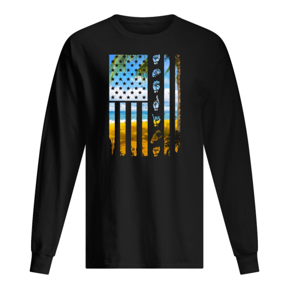 Landscape and hands American flag shirt Long sleeved