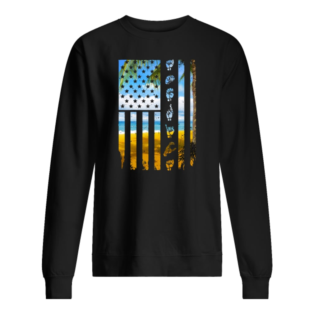 Landscape and hands American flag shirt sweater