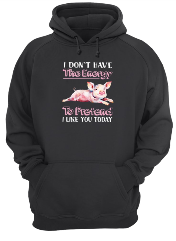 Pig I don't have the energy to pretend I like you today shirt hoodie