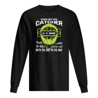 Behind every good catcher is a mom trying a photo to take of her kid shirt long sleeved
