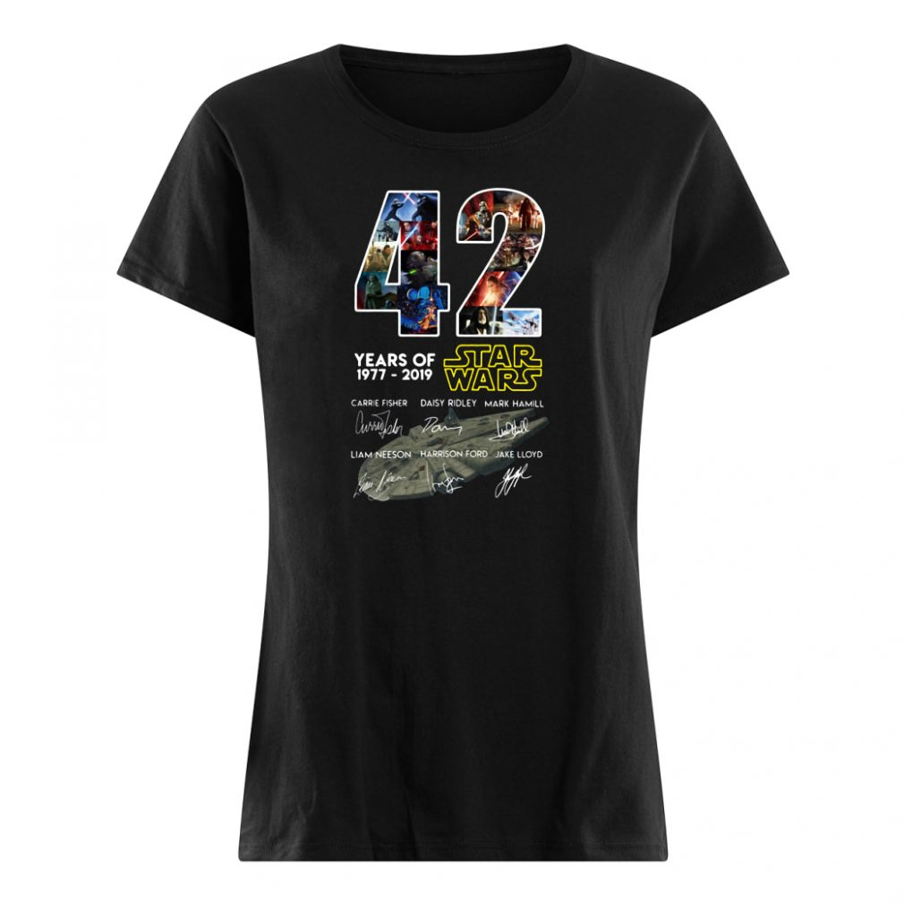 42 years of Star Wars 1977 2019 anniversary shirt ladies tee