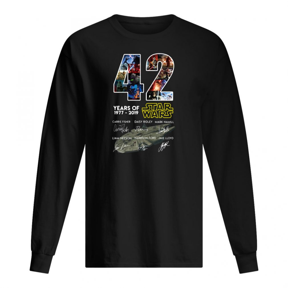42 years of Star Wars 1977 2019 anniversary shirt long sleeved