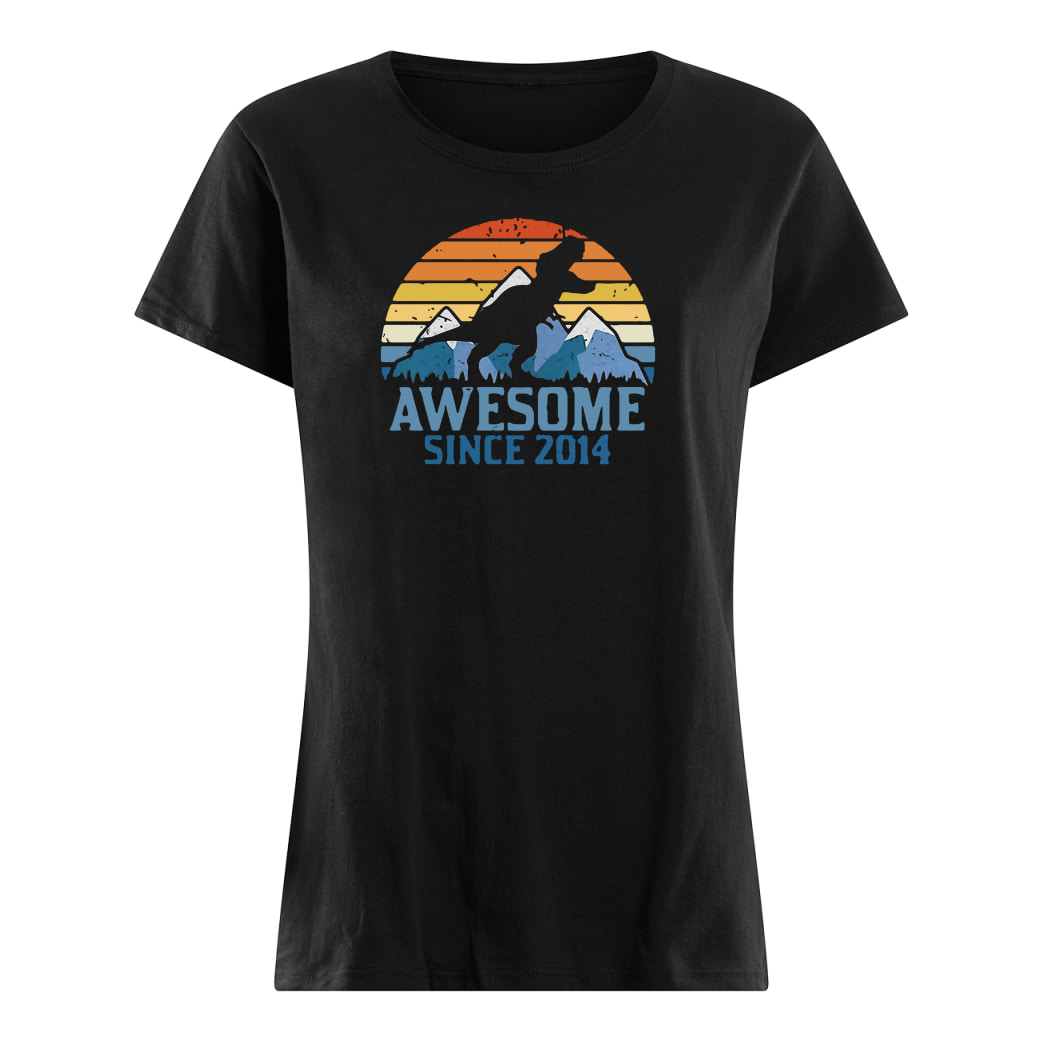 Dinosaur awesome since 2014 vintage shirt ladies tee