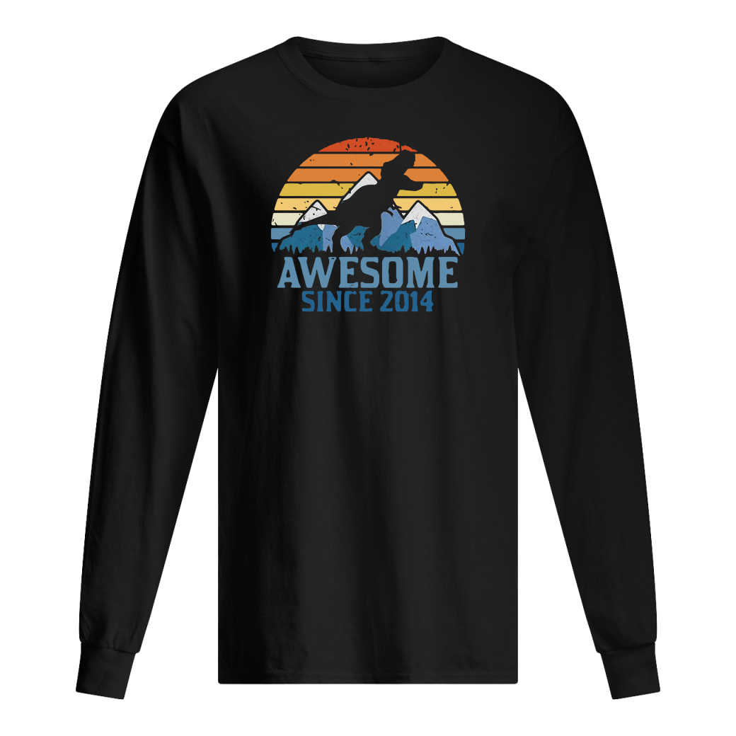 Dinosaur awesome since 2014 vintage shirt Long sleeved