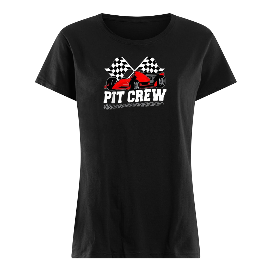 Pit crew car racing checkered flag shirt ladies tee