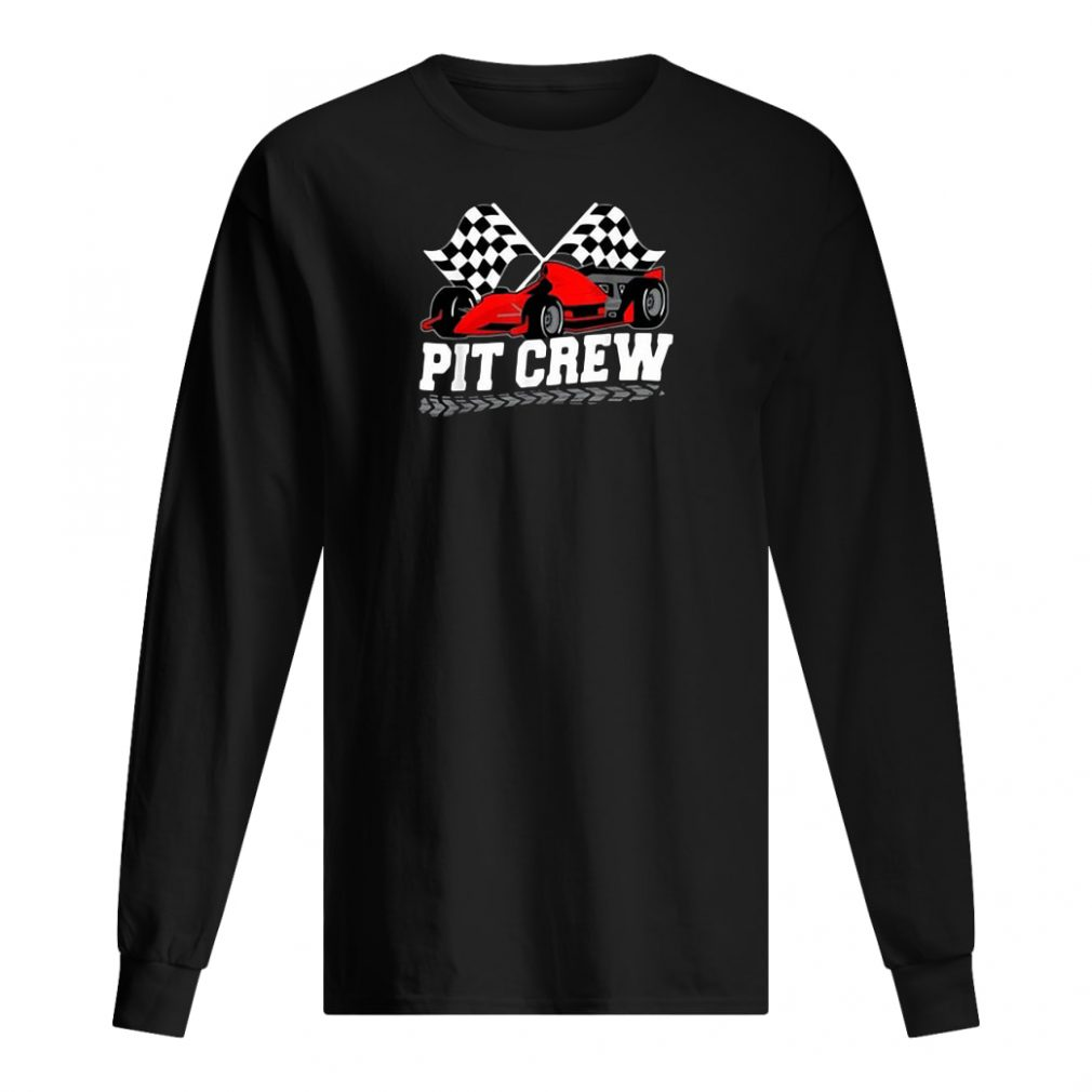 Pit crew car racing checkered flag shirt long sleeved