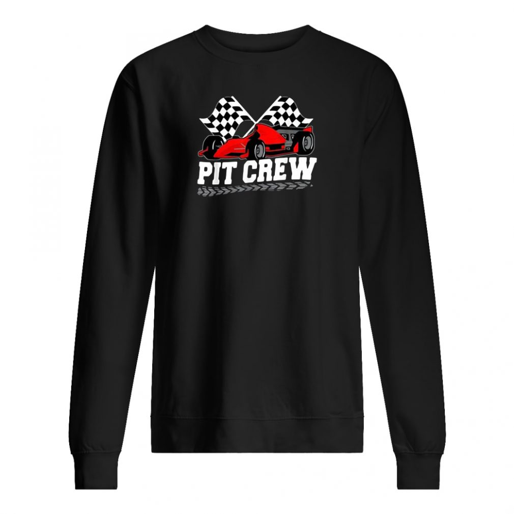 Pit crew car racing checkered flag shirt sweater
