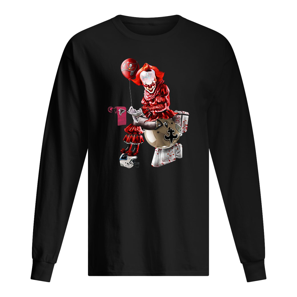 Pennywise NFL team football Tampa Bay Buccaneers New Orleans Saints toilet shirt Long sleeved