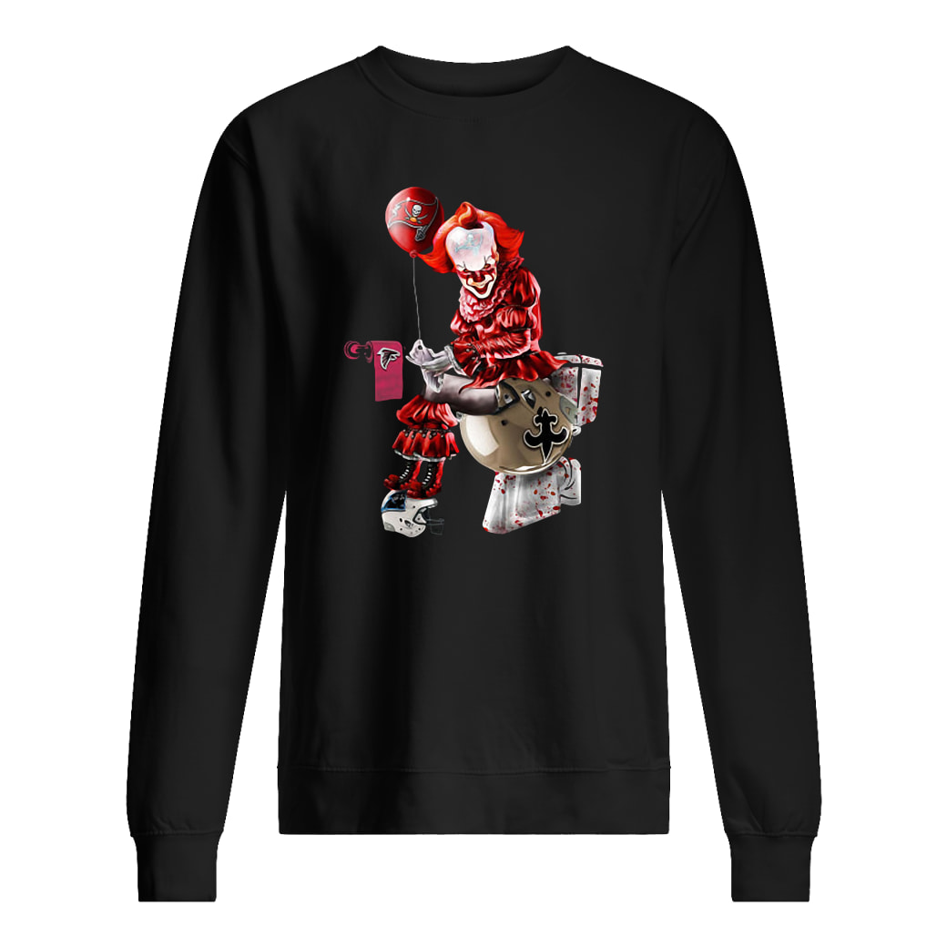 Pennywise NFL team football Tampa Bay Buccaneers New Orleans Saints toilet shirt sweater
