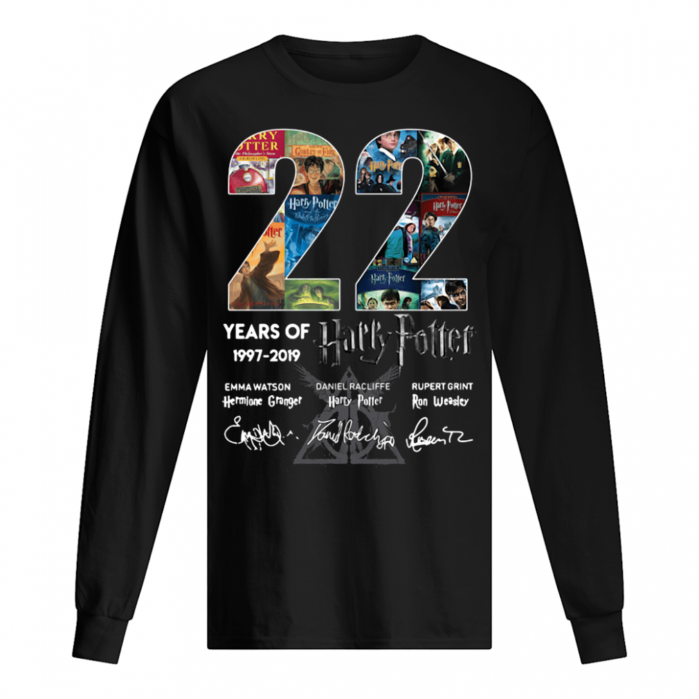 22 years of Harry Potter signatures shirt long sleeved