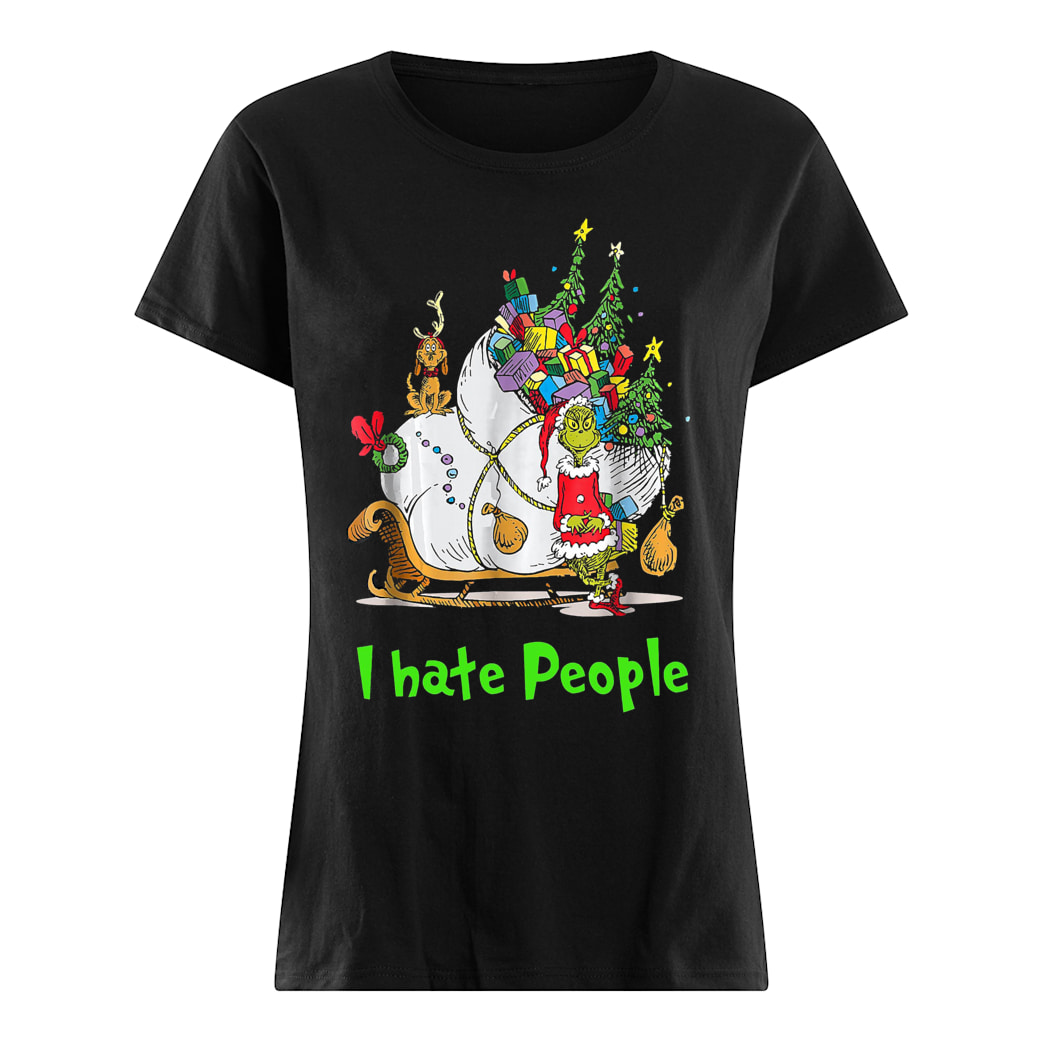 Grinch Santa i hate people shirt ladies tee