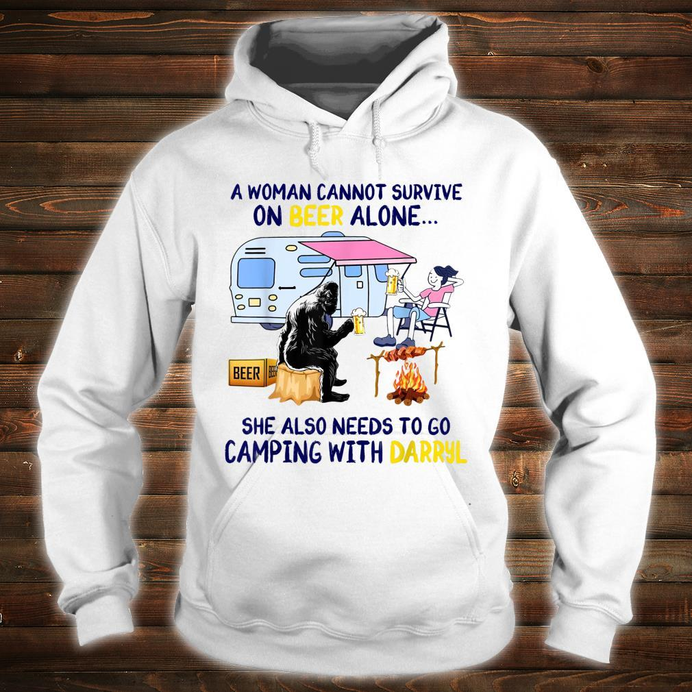 A Woman Cannot Survive On Beer Alone Camping Darryl Bigfoot Shirt hoodie