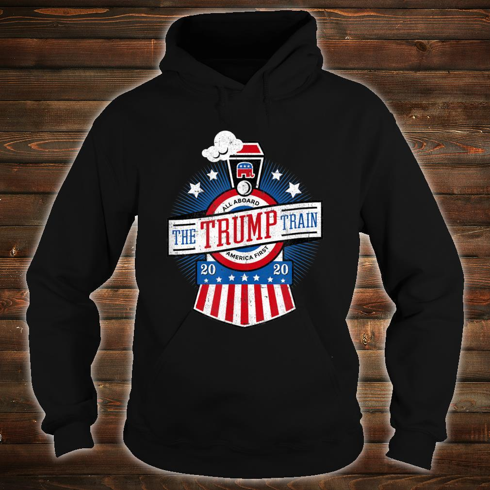 All Aboard the Trump Train 2020 American Flag Reelect 45 Shirt hoodie