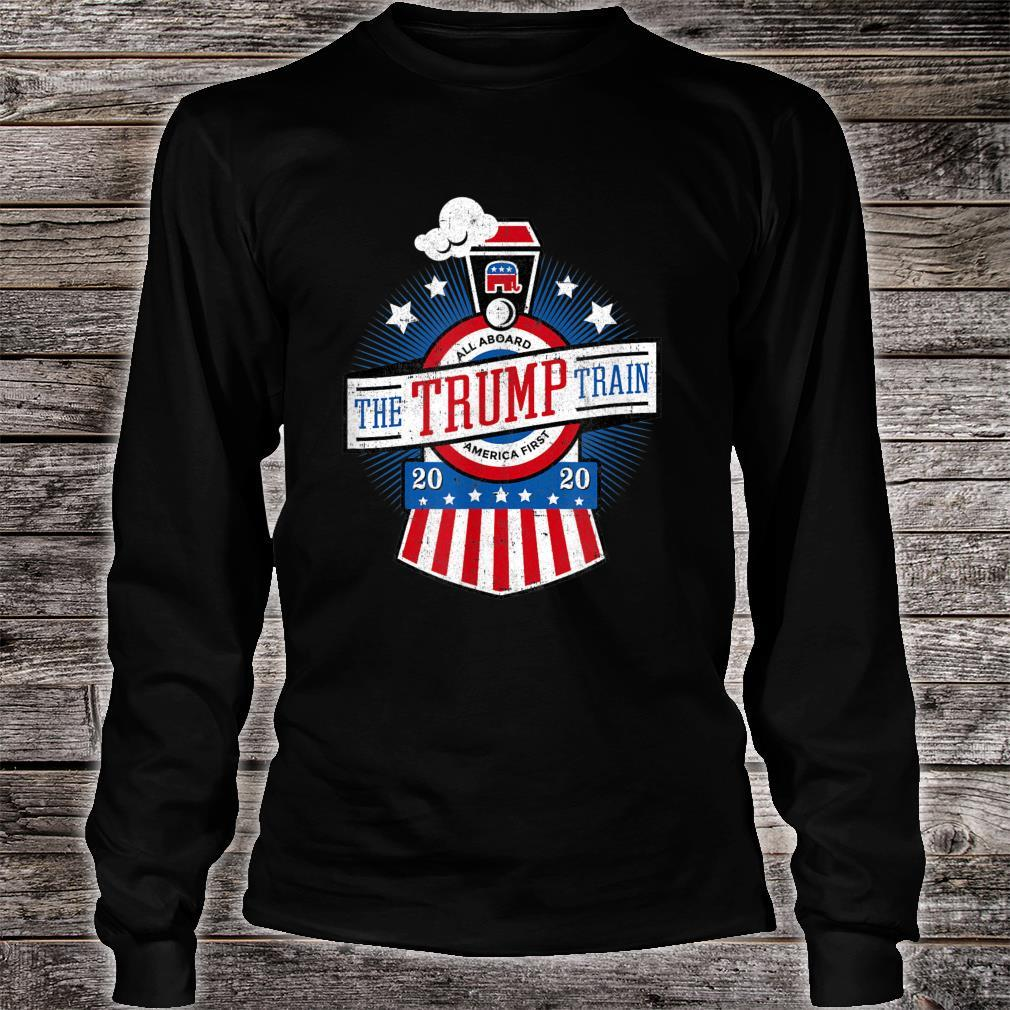 All Aboard the Trump Train 2020 American Flag Reelect 45 Shirt long sleeved