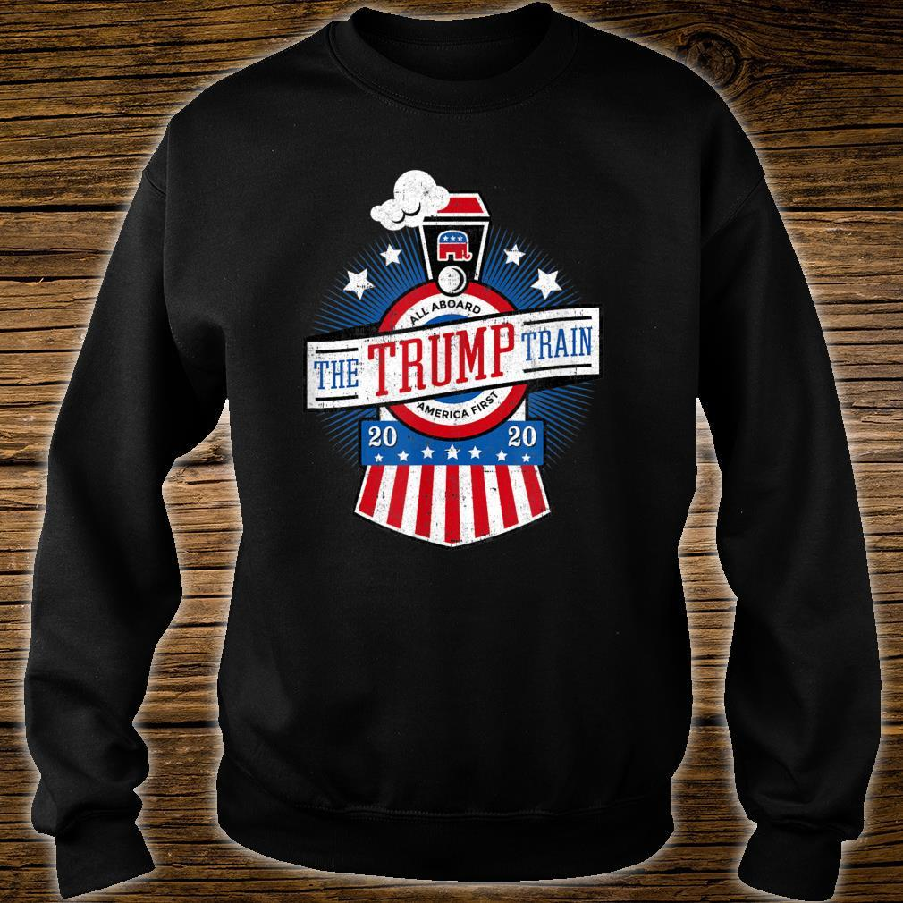 All Aboard the Trump Train 2020 American Flag Reelect 45 Shirt sweater