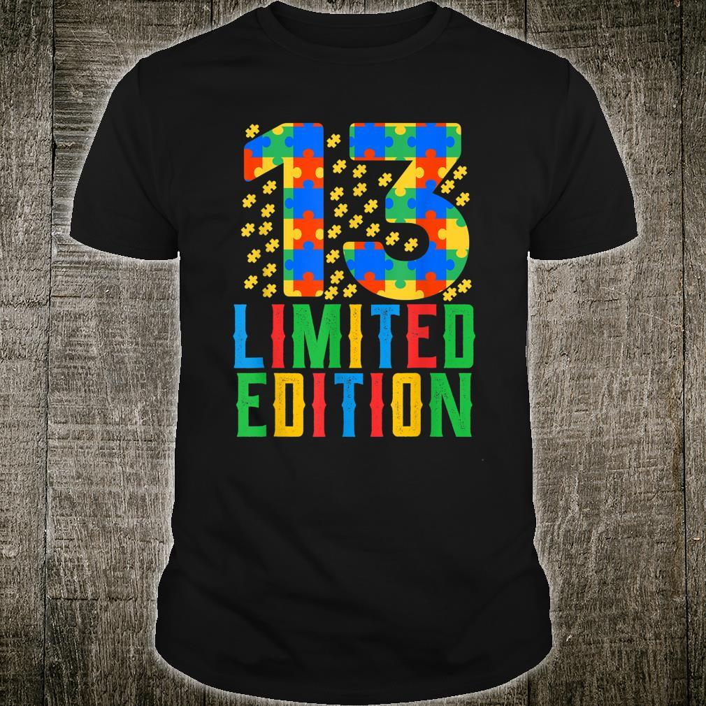 Birthday Boy Girl 13 Year Old Autism Awarenessnage Shirt
