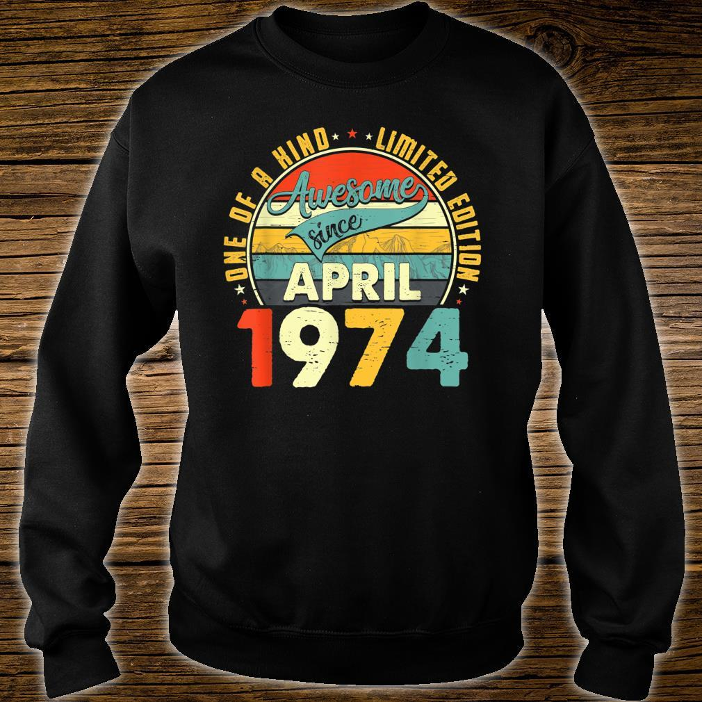 Born In April 1974 47th Birthday Retro 47 Years Old Shirt sweater