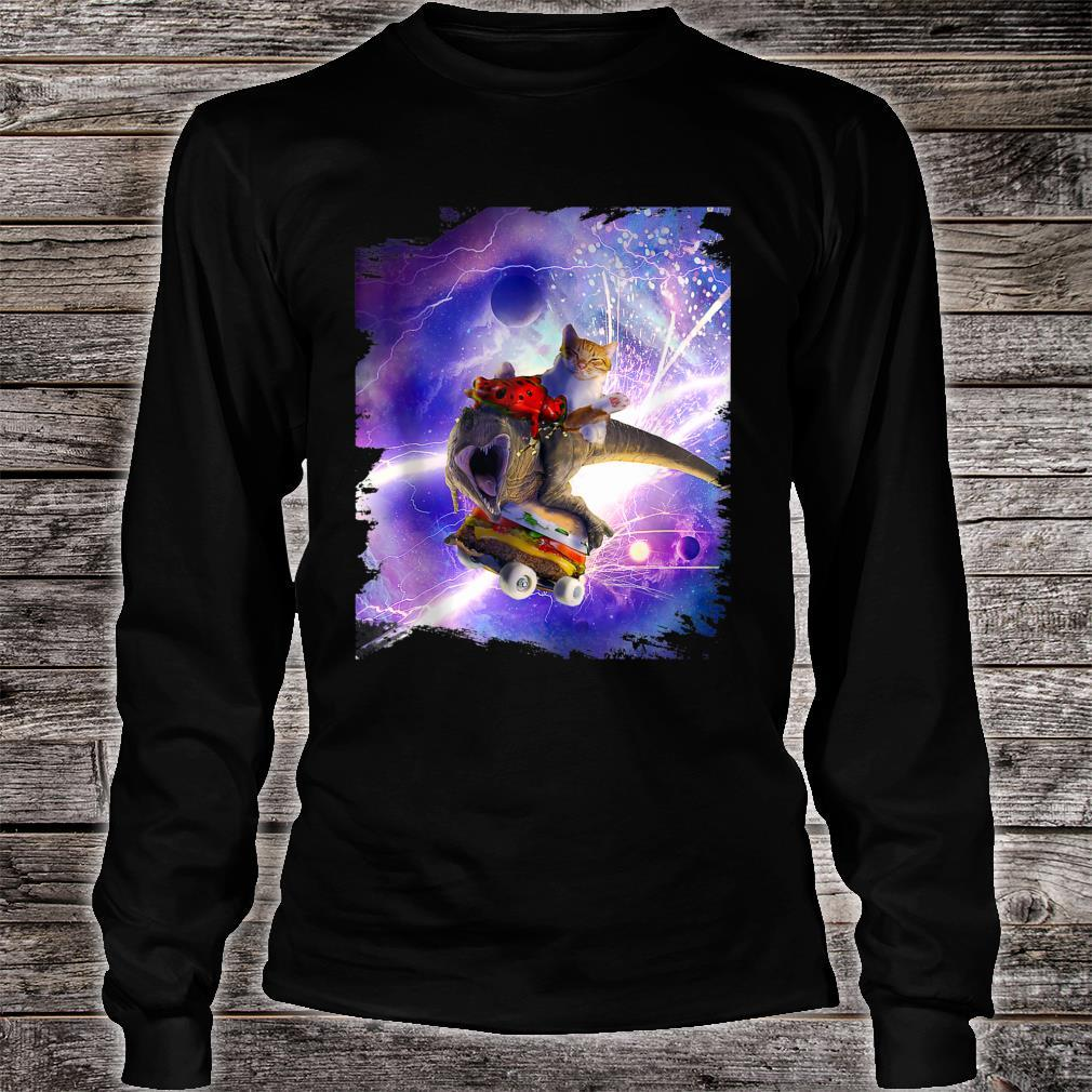 Cat Frog Dinosaur With Hamburger Skateboard Shirt long sleeved