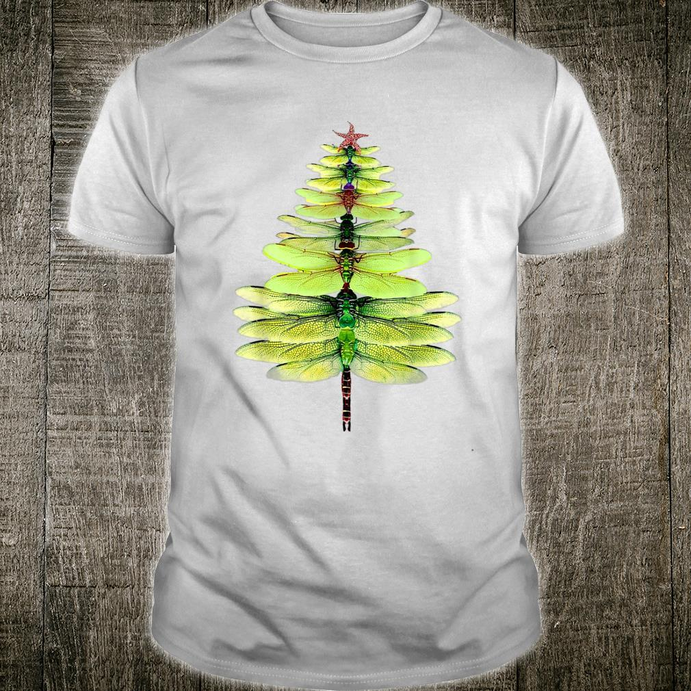 Dragonfly Christmas Tree Print Xmas Watercolor Shirt