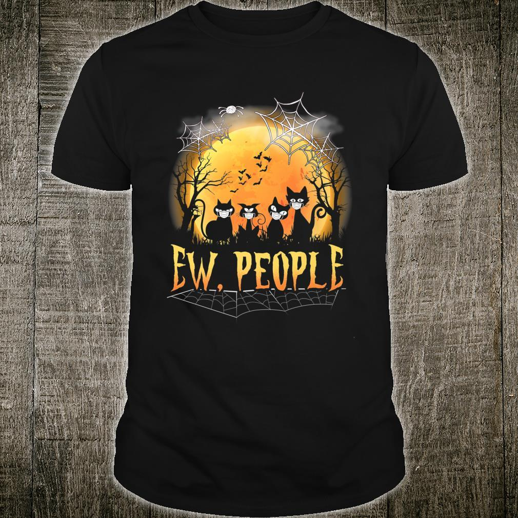 Ew People Black Cats Halloween Moon Cat Face Mask Quarantine Shirt