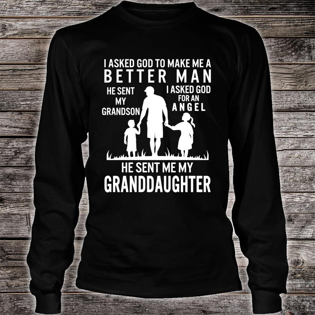 Fathers Day Grandpa Me Better Grandson Angel Granddaughter Shirt long sleeved