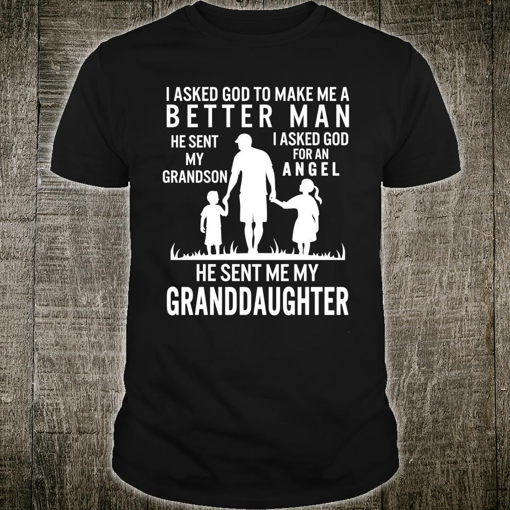 Fathers Day Grandpa Me Better Grandson Angel Granddaughter Shirt