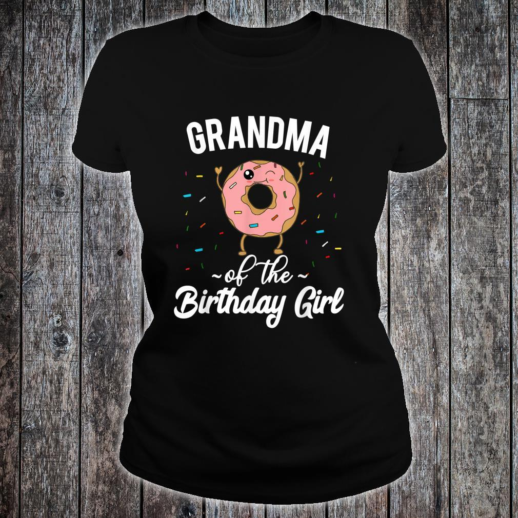 Grandma of the Birthday Girl Donut Themed Party Shirt ladies tee