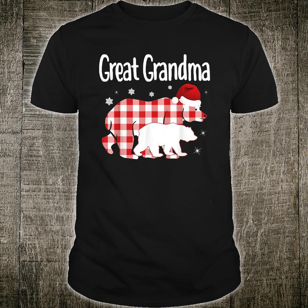 Great Grandma Red Plaid Bear Matching Family Christmas Shirt