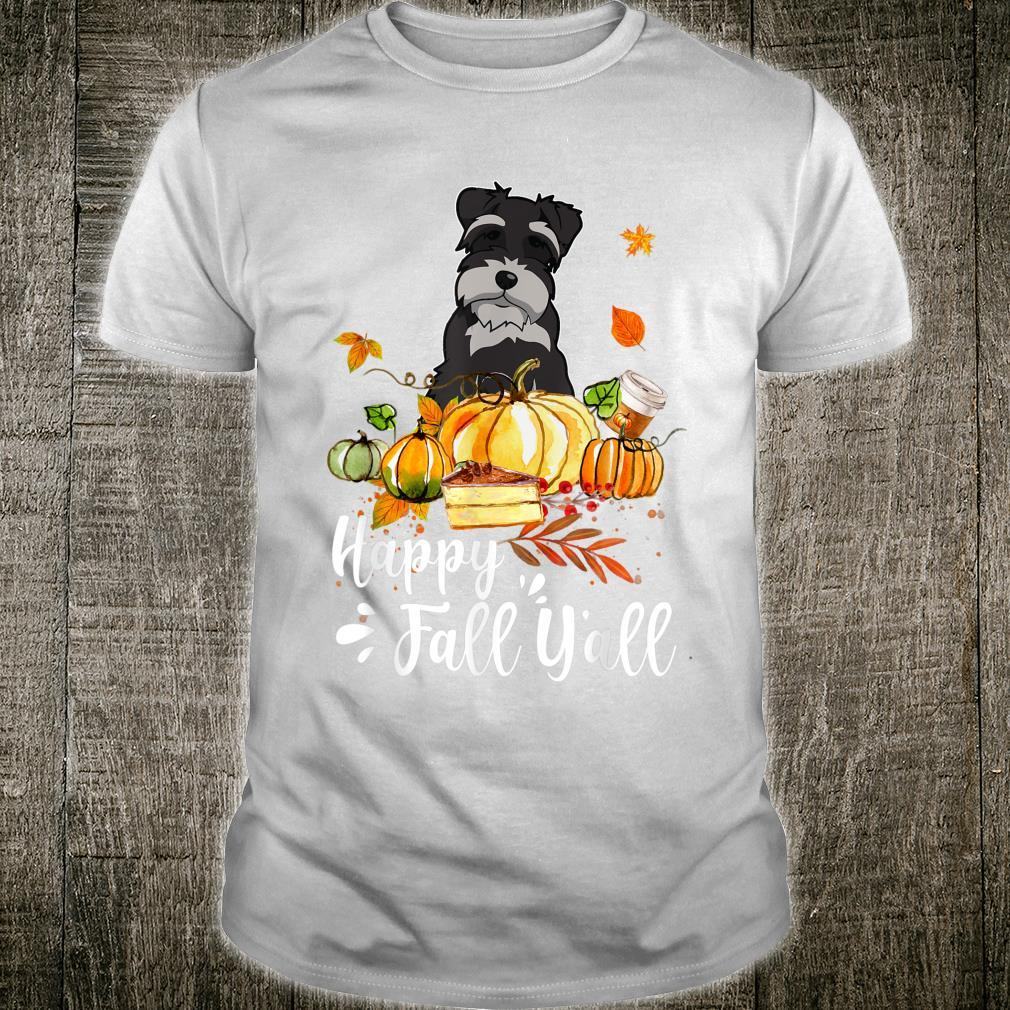Happy Fall Y'all Schnauzer Dog Thanksgiving Halloween Shirt