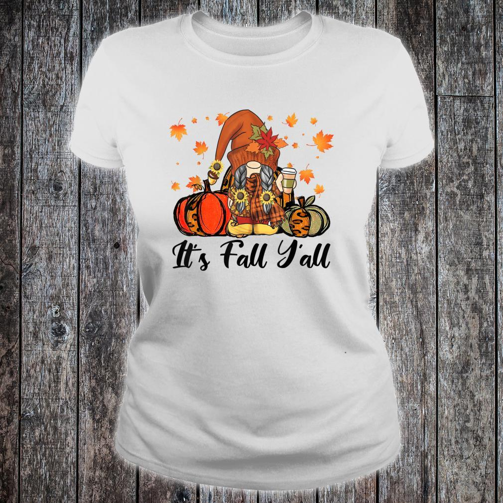 Leopard It's Fall Yall Gnome Pumpkin Autumn Matching Couples Shirt ladies tee