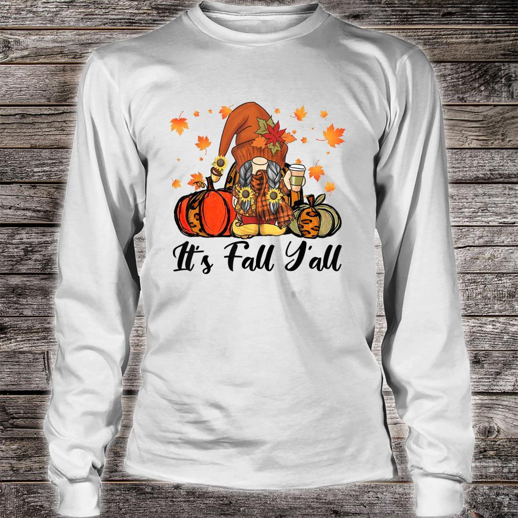 Leopard It's Fall Yall Gnome Pumpkin Autumn Matching Couples Shirt long sleeved