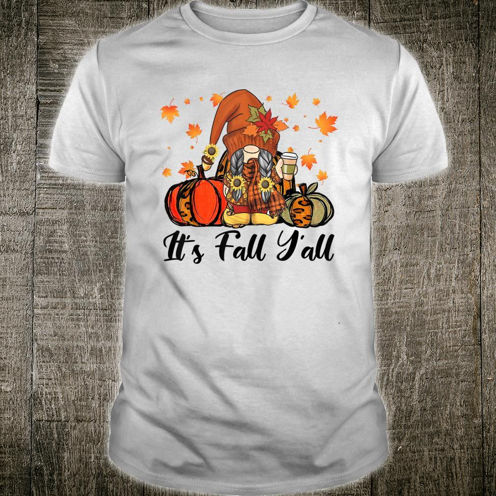 Leopard It's Fall Yall Gnome Pumpkin Autumn Matching Couples Shirt