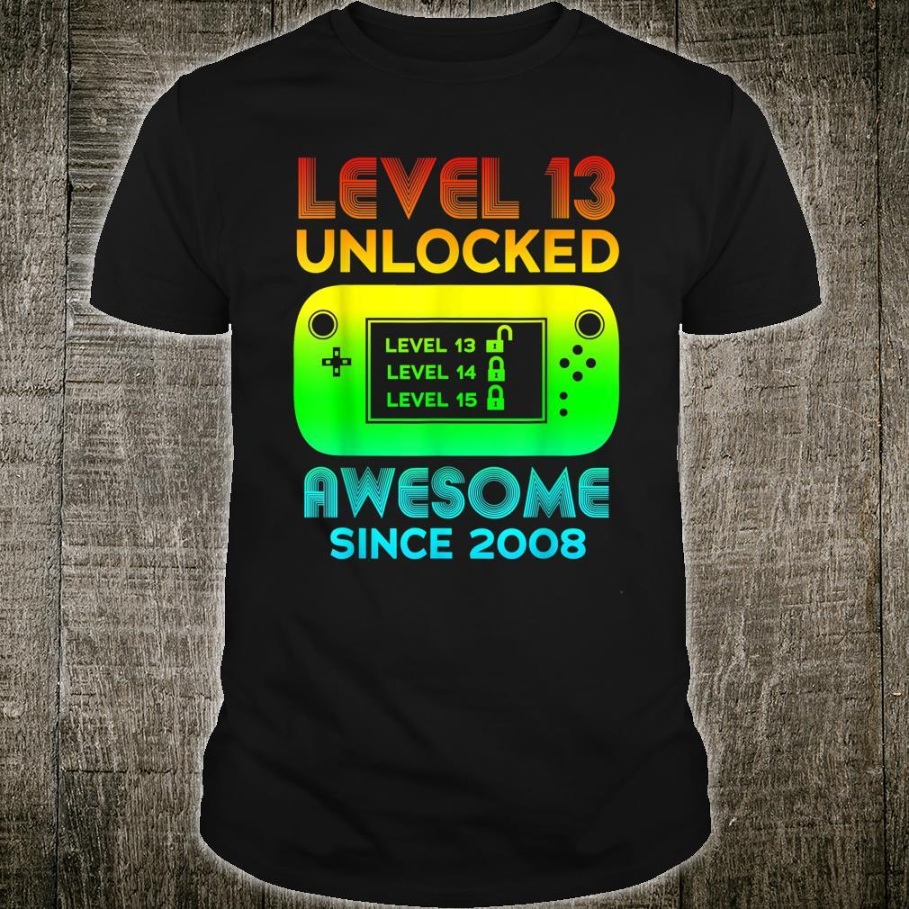 Level 13 Unlocked Awesome Since 2008 Video Game 13 Birthday Shirt