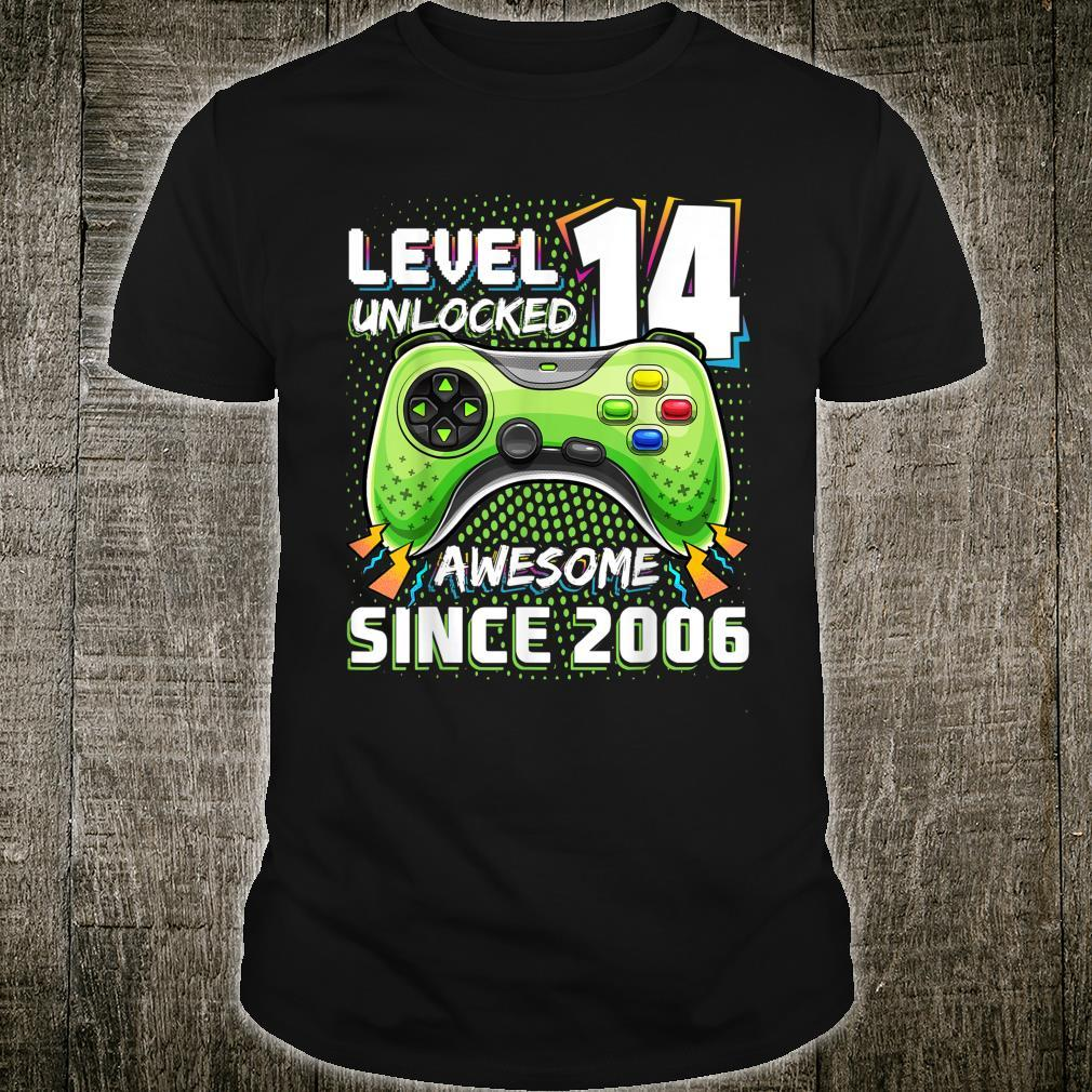 Level 14 Unlocked Awesome 2006 Video Game 14th Birthday Shirt