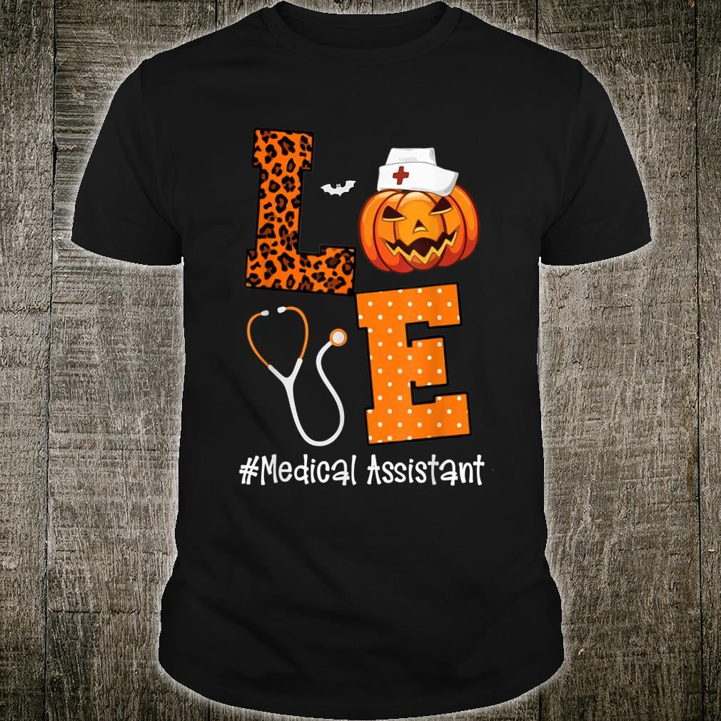 Love Medical Assistant Leopard and Pumpkin Halloween Shirt