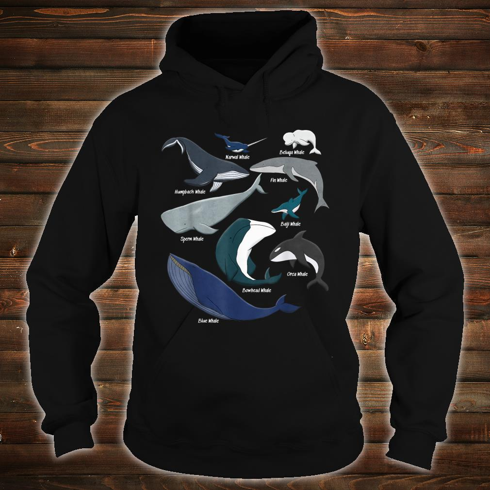 Types of Whales Save the Ocean Mammals Animal Species Shirt hoodie