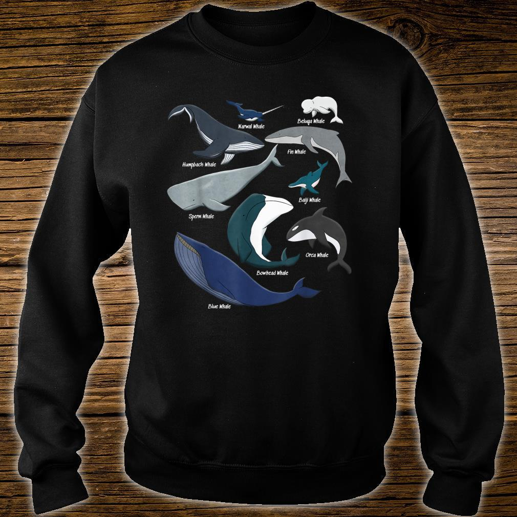 Types of Whales Save the Ocean Mammals Animal Species Shirt sweater