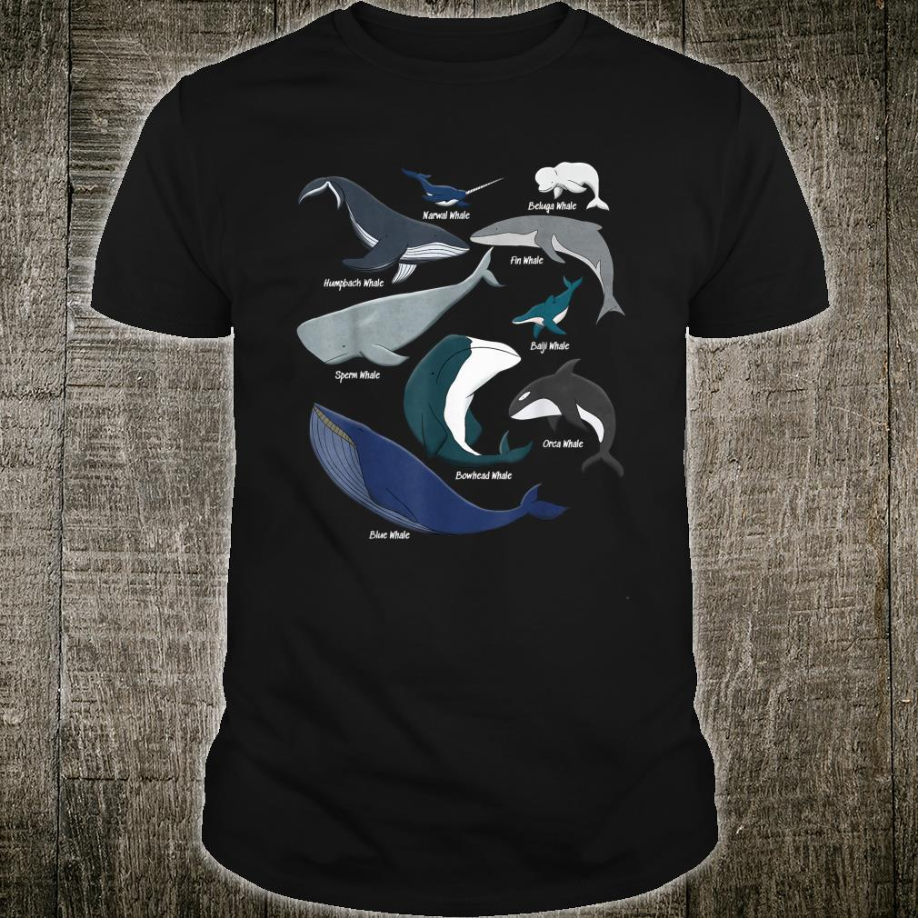 Types of Whales Save the Ocean Mammals Animal Species Shirt