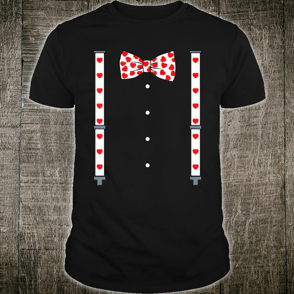 Valentines Day Suspenders And Hearts Bow Tie Boysns Shirt